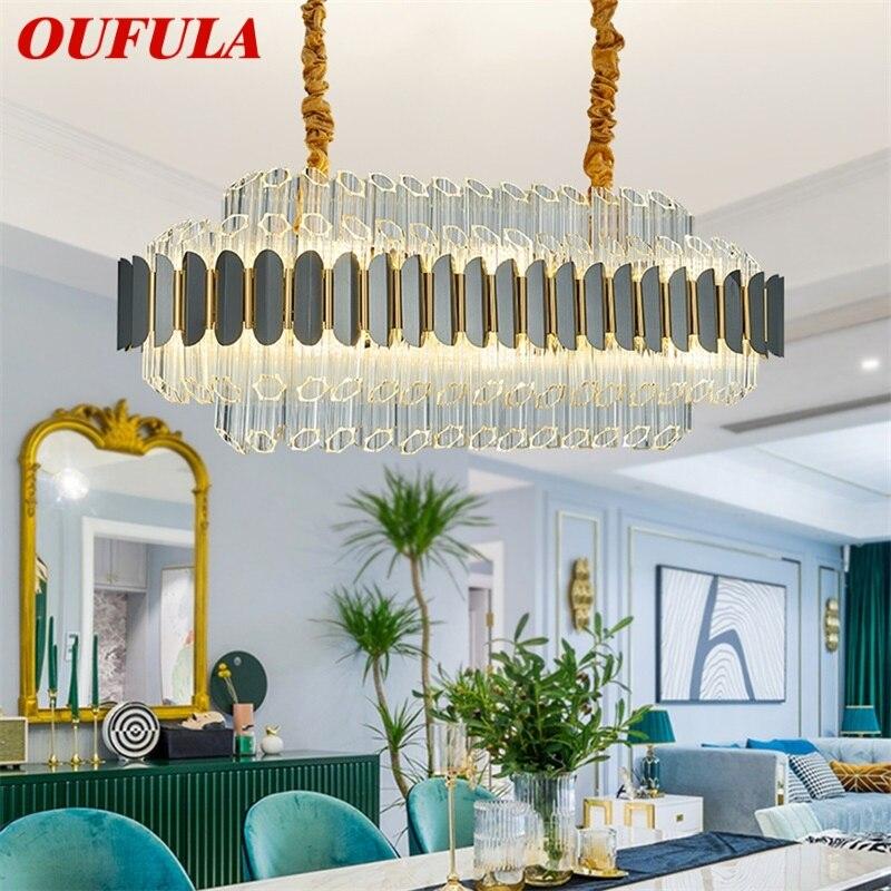 OUFULA كريستال قلادة ضوء ما بعد الحداثة الفاخرة LED مصباح الثريا تركيبات للمنزل الطعام غرفة المعيشة