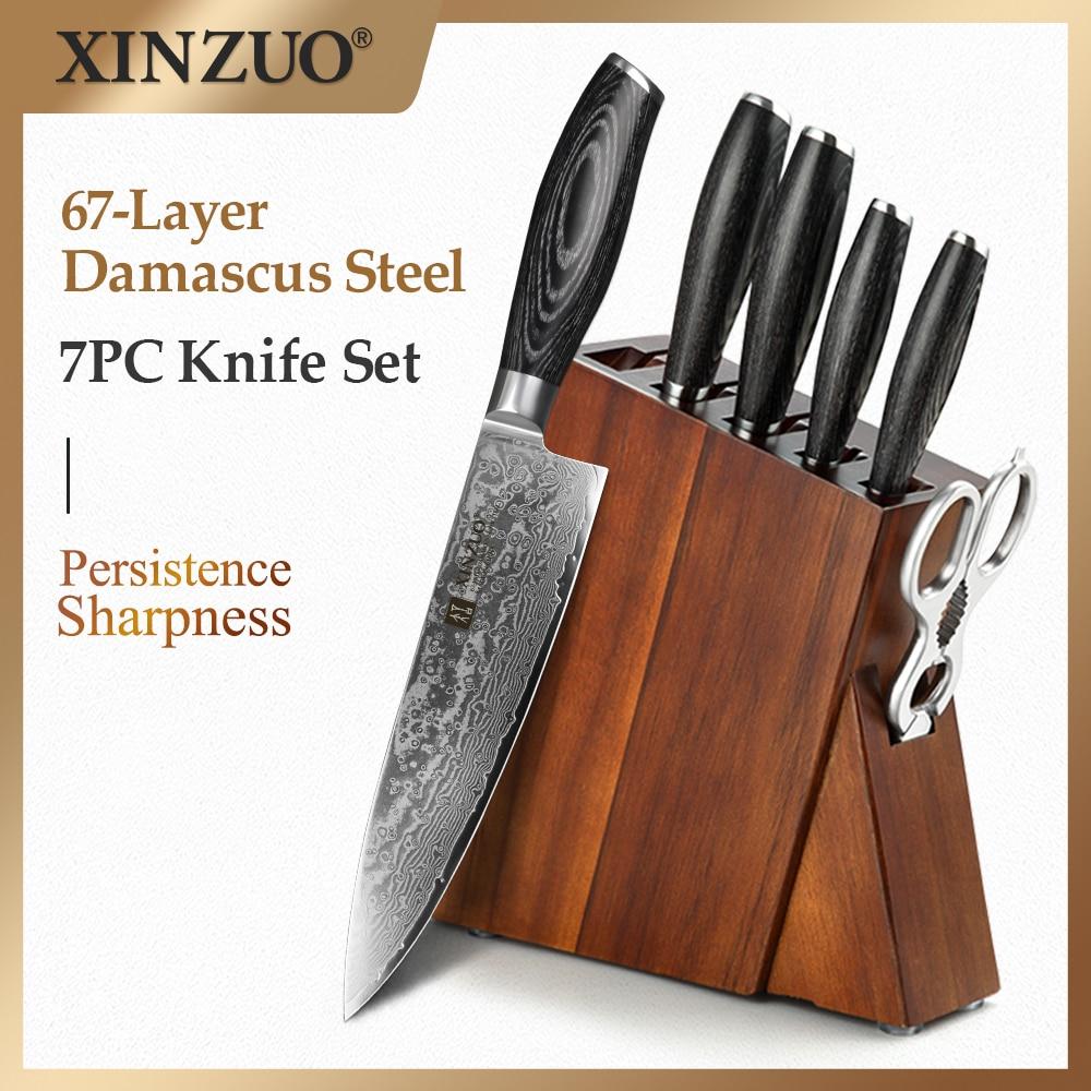 XINZUO 7 قطعة برو السكاكين مجموعات سوبر شارب اليابانية دمشق الصلب الشيف Santoku مقص المطبخ السكاكين مجموعة كتلة حامل حامل