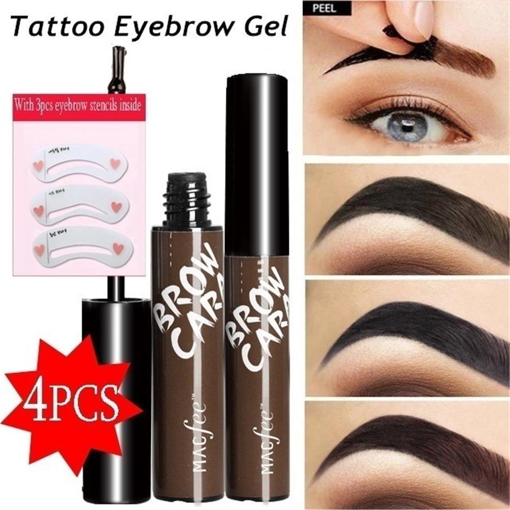 4Pcs/Set EyeBrow Gel Tattoo Tint Waterproof Peel Off Eye Brow Pomade Tattoo Long-lasting Dye Eyebrow Tint Gel Makeup Cosmetics недорого