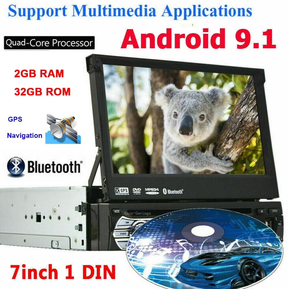 Reproductor de DVD estéreo Universal 1din Android 9,1 para coche, pantalla táctil retráctil de 7 pulgadas, autorradio Multimedia para coche, navegación GPS FM 2 + 32GB