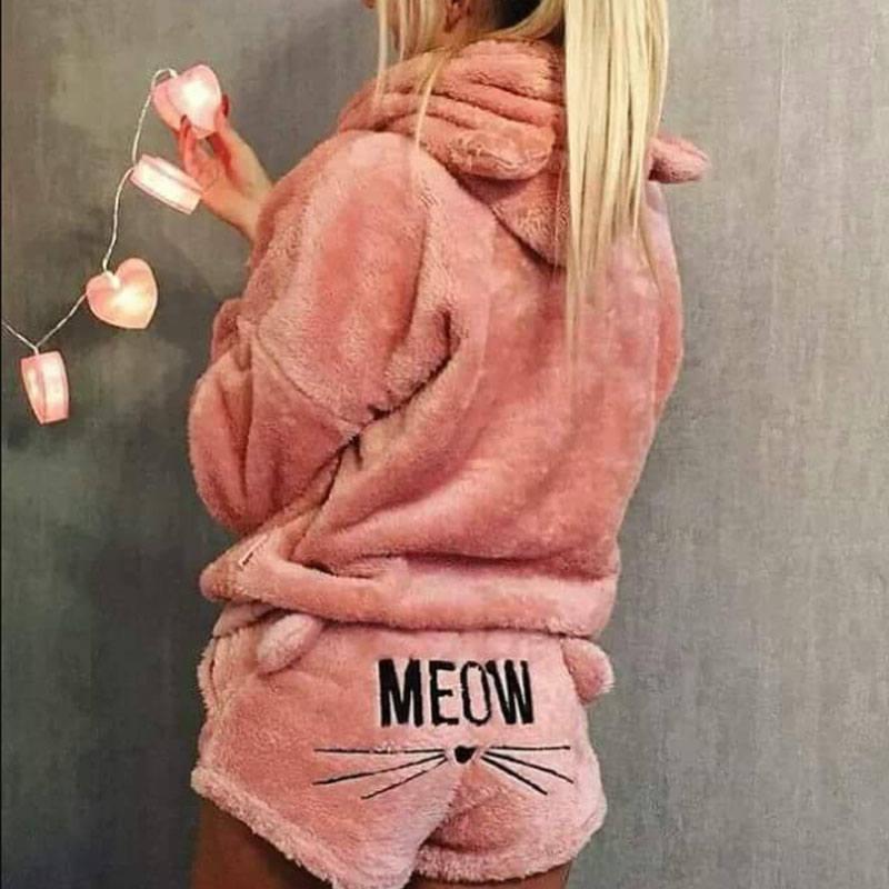 Invierno cálido pijamas con capucha Top para dormir y corto esponjoso de franela ropa de dormir pijamas ropa para las mujeres