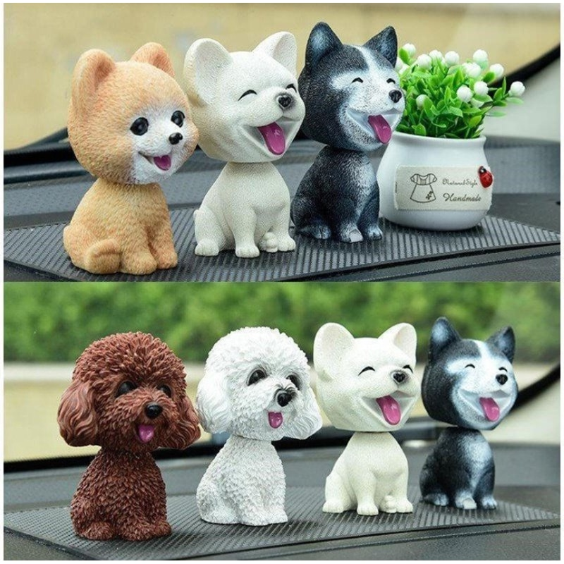 car ornaments nodding lovely resin shaking head interior decorations accessories for vehicle decorating cars 9cm Husky Teddy Pomeranian Shaking Head Dog Car Ornament Cute Nodding Decoration Gift For Car Interior Home Room Car accessories