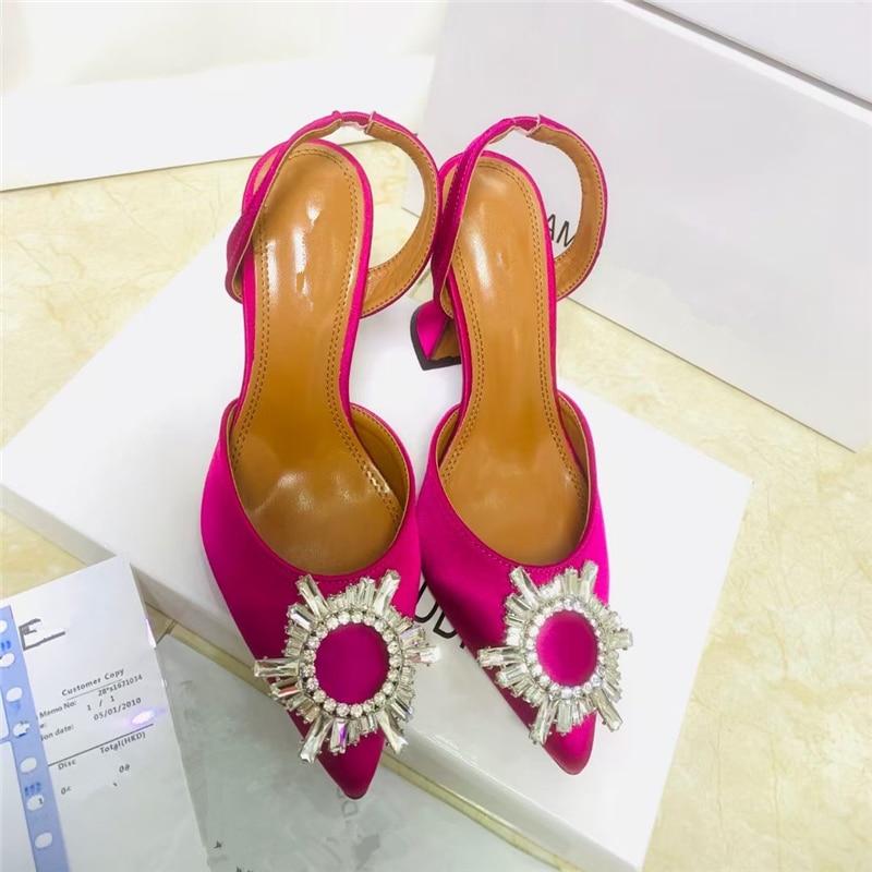 Spring 2021 new diamond buckle decoration satin pointed toe ladies high heels 9 cm heel height