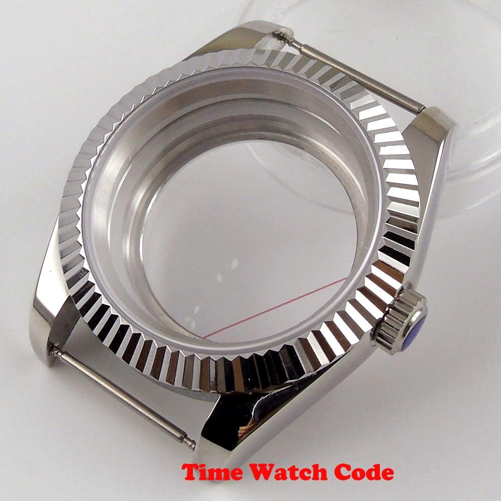 Completa de Aço Relógio Masculino Case Peças Caber Nh35 Nh36 Movimento Automático Inoxidável Safira Vidro Substituição 40mm