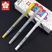 1 шт. Sakura белая Золотая гелевая ручка на водной основе 0,7 мм гелевая ручка для рисования Сделано в Японии Высокое качество XPGB #50