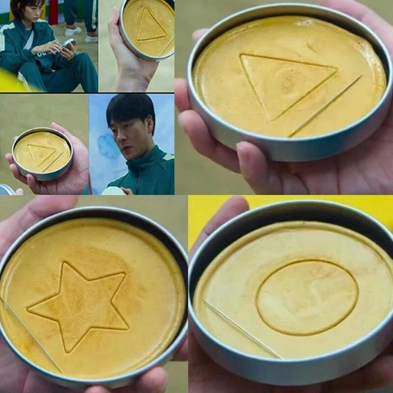 Игра кальмар с печеньем, конфеты, пирожные, Понкан, конфеты, конфеты, драма в Корейском стиле, игра с иглой, железная коробка, упаковка