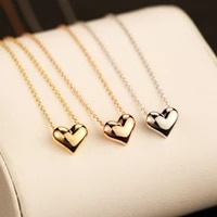 short gold colour love necklace for women kpop fashion simple sweet cute heart pendant clavicle chain anklet