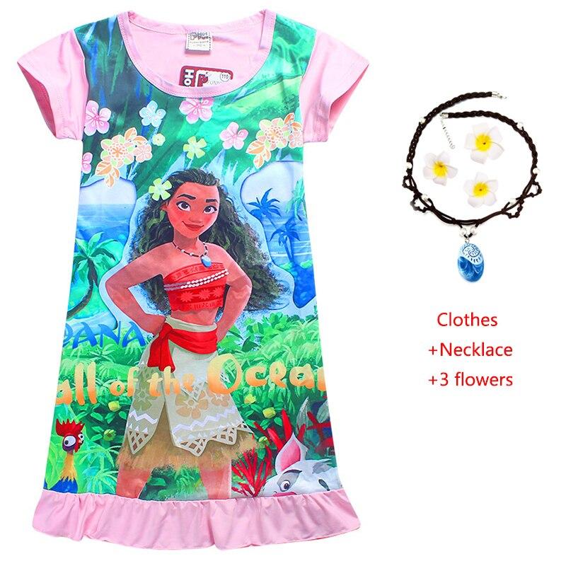 Vestido de verano para niñas, vestidos de Moana Vaiana Trolls de Anime, ropa de dormir, disfraz de princesa para fiesta de cumpleaños, pijamas de bebé, bonito vestido de Halloween