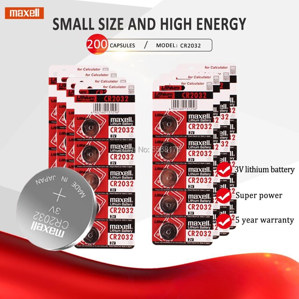 200 pces para maxell 3 v cr2032 2032 bateria de lítio de alta capacidade ecr2032 kl2032 5004lc da bateria do botão da pilha da moeda