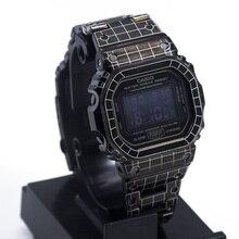 Grid Pattern Bracelet For Casio G-shock GWM-B5000 DW-5600 Stainless Steel Watch Band Bezel For Casio 5600 5610  Watch Case