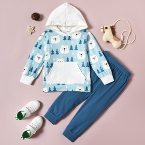PatPat 2-piece Baby / Toddler Bear Print Hooded Pullover and Pants Set for Kids Boy Clothing Sets