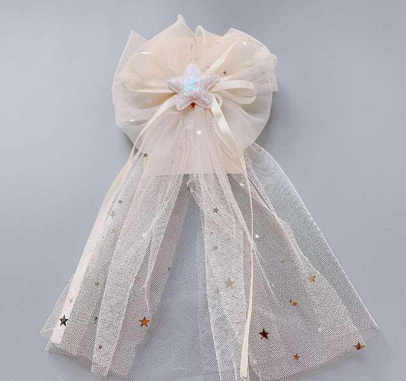 New princess top clip wedding flower girl hair accessories gauze bow star net hair clip