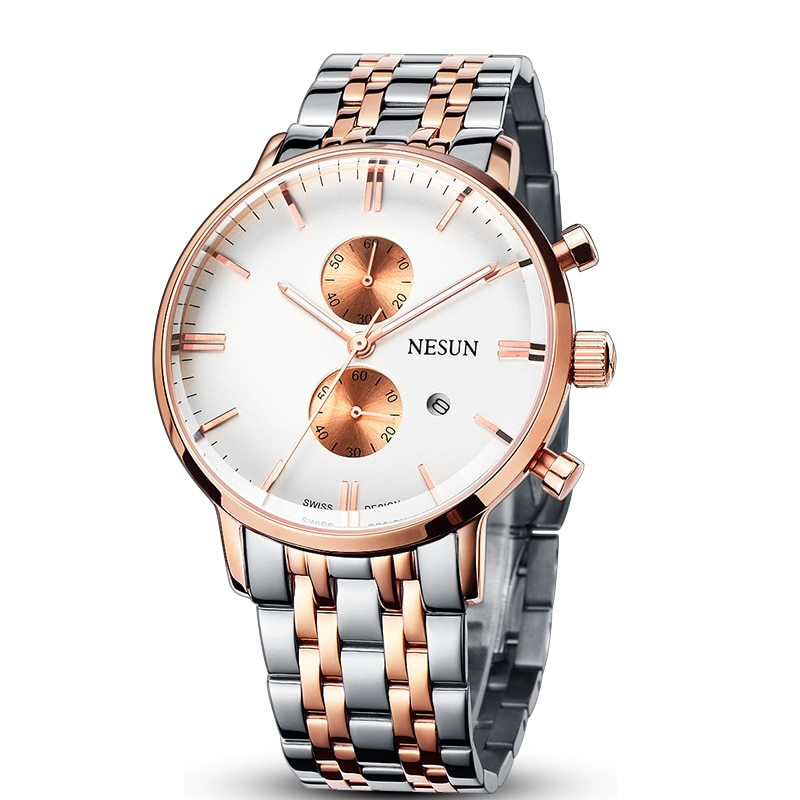 Nesun ساعات رجالية ماركة فاخرة اليابان استيراد ساعة حركة من كوارتز الرجال كرونوغراف ساعات المعصم مقاوم للماء كامل الصلب N8601-2