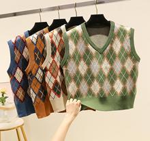 2020 spring women's fashion v-neck knitting check vest sleeveless sweater vintage kniting pullovers