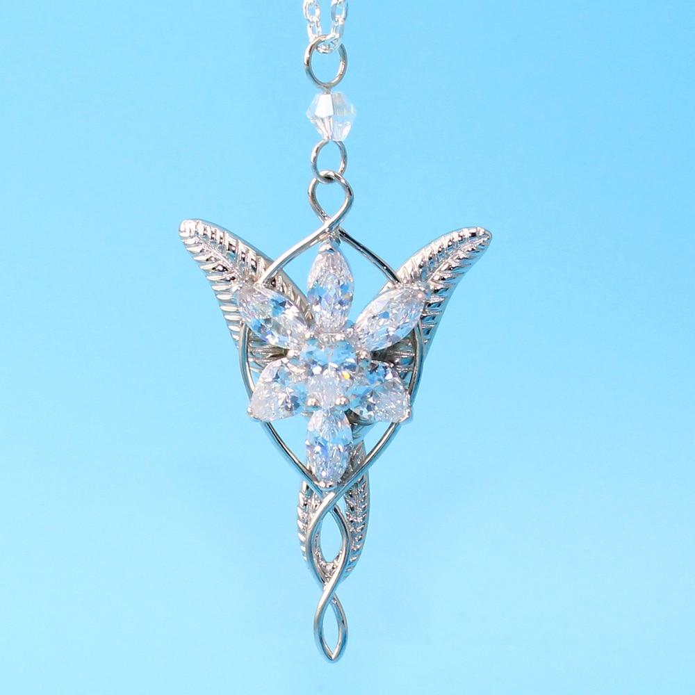 925 Sterling Sliver Wedding Jewelry Lord Princess Arwen Evenstar Pendant Necklaces for Women Arwen Crystal