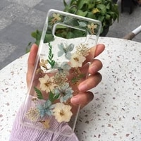 real dried pressed flowers phone case for samsung galaxy s20 s10 s9 s8 plus note 8 9 clear floral cover for s20 ultra case cover