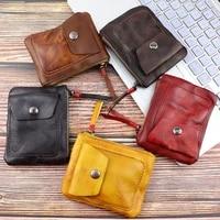 genuine leather coin crash purse vintage mini zipper wallets case storage bag card holder pocket for men women