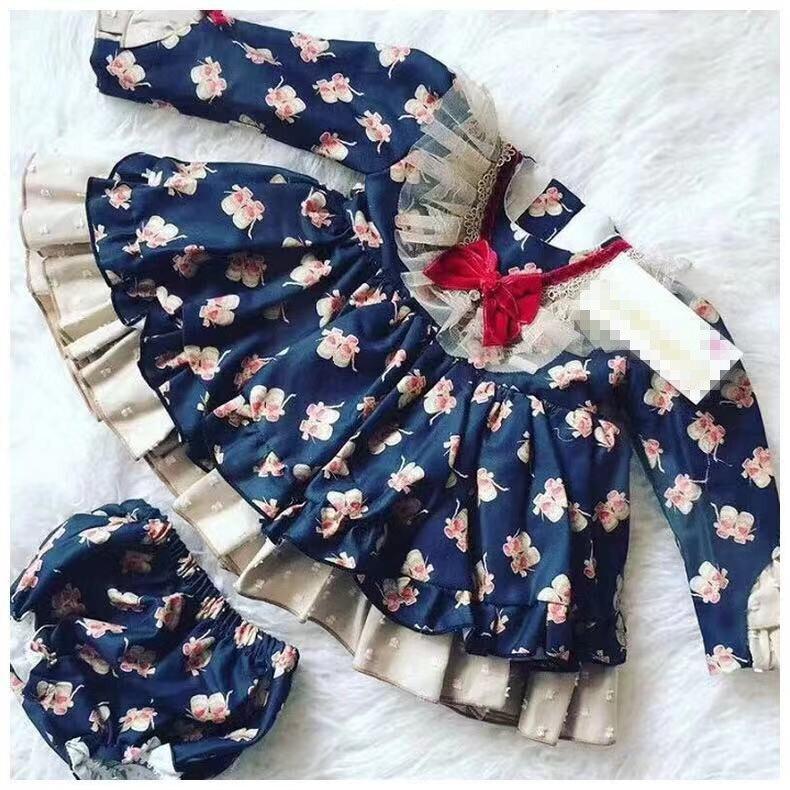 3PCS Baby Girl Spring Autumn Summer Navy Blue Vintage Spanish Pompom Ball Lolita Princess Lolita Dress for Eid Birthday Casual