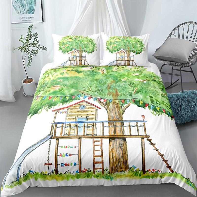 منزل جميل 2/3 قطعة المناظر الطبيعية التوأم حاف يغطي الملكة حجم لحاف غطاء وسادة حالة 3D الفراش مجموعة الملك