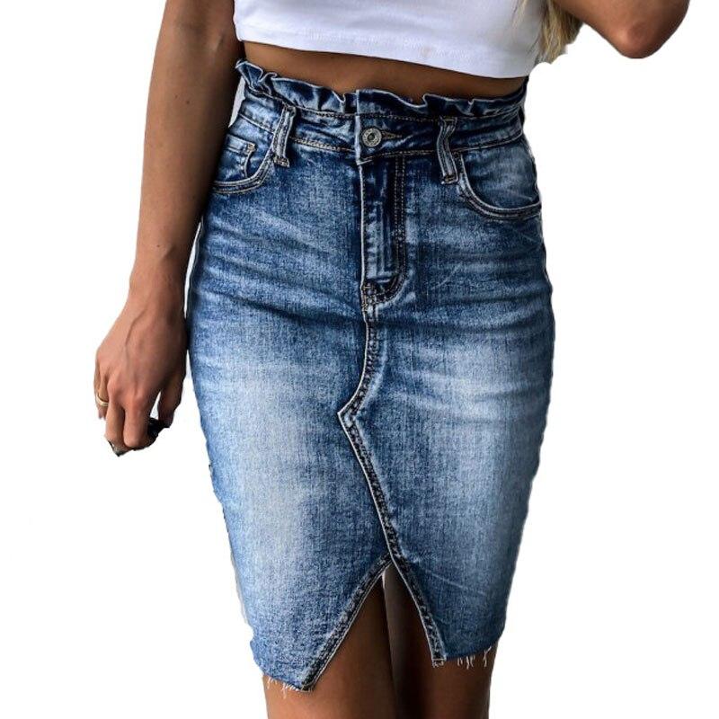 Ruffle High Waist Women Denim Skirt Female Distressed Mini Pencil Skirt ladies Sexy Ripped Vintage Jeans Skirt
