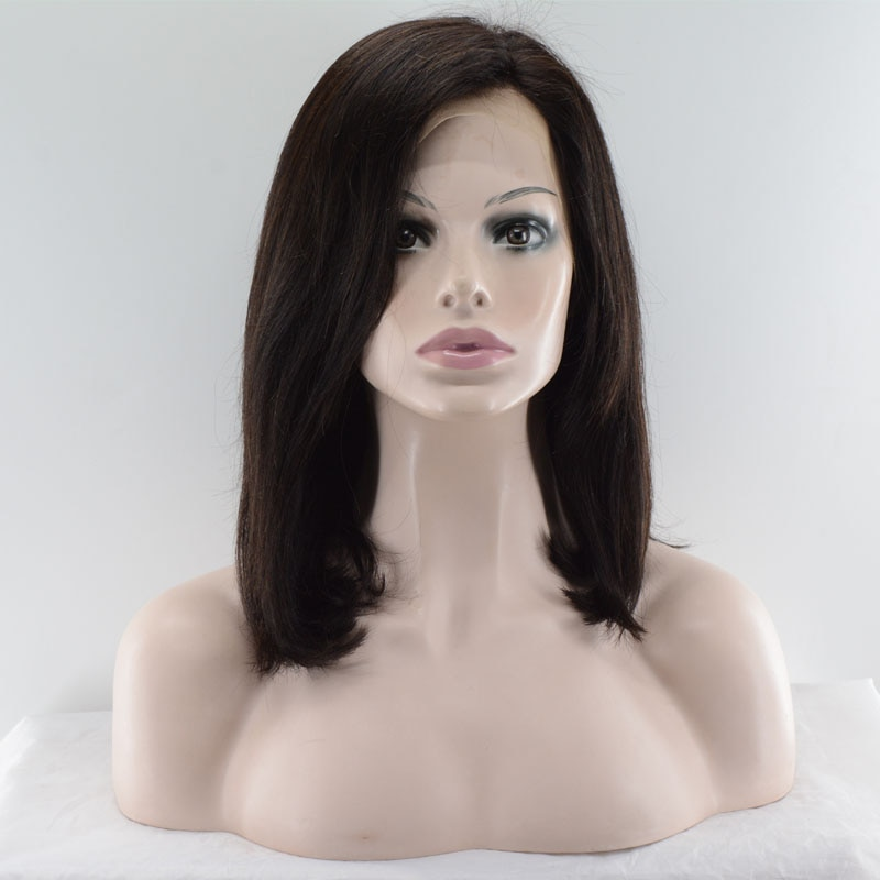Remy Human Hair Lace Front Wig Hand-Tied Brazilian Hair Short Bob Costume wig 150% Density Lace frontal with Bongs