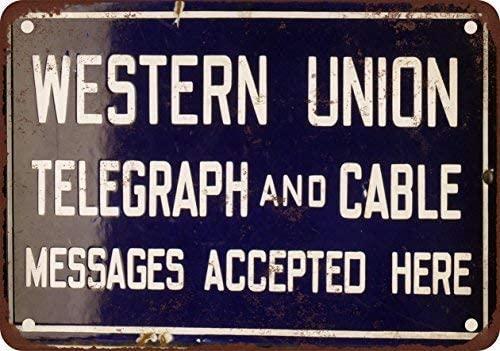 Western Union Telegraph y Cable Retro de aluminio cartel de Metal Vintage...