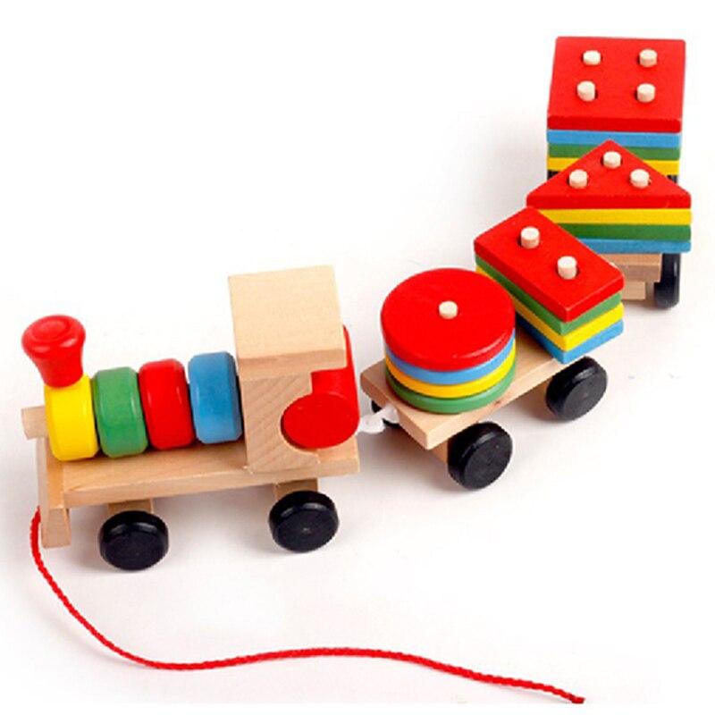 Juguete de tren de madera para aprendizaje temprano, grupo educativo para niños, juguete de plástico para niños