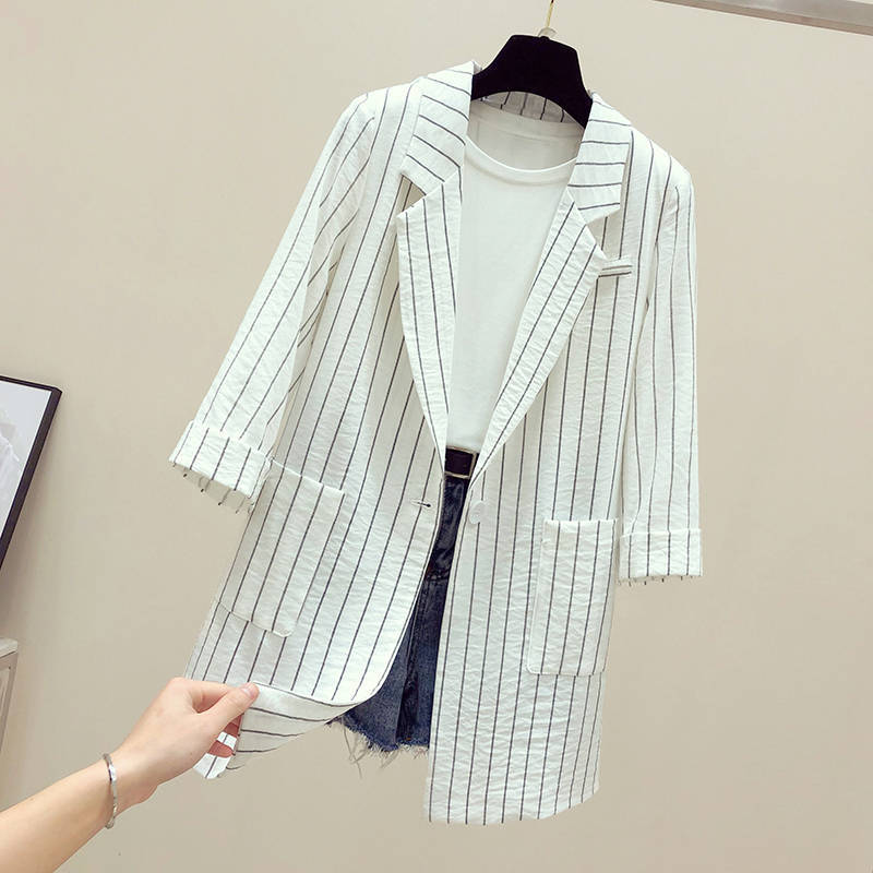 2019 summer fashion striped seven sleeves small suit jacket female Spring Stripe Suit Jacke Femme Plus Size 4XL women's blazer