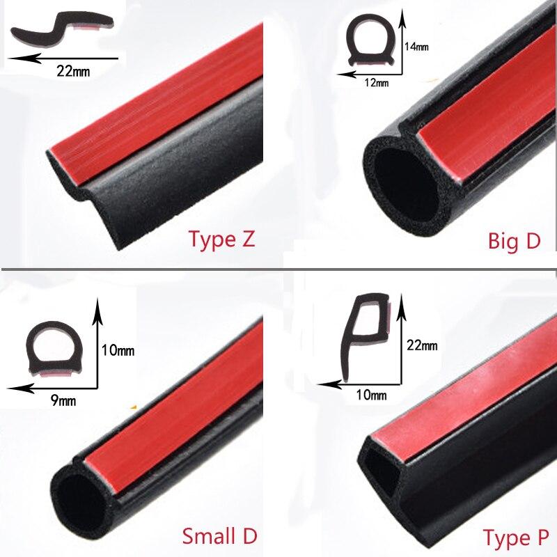 2 metros/lote Universal en forma de D Z P B sello de goma para puerta de coche tapa de maletero tira de sellado sello de borde de ventana