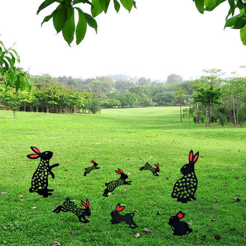 Милый кролик, садовый художественный кролик, силуэт, черный кролик, садовый кролик, двор, искусство для газона, улицы, внутреннего дворика, д...