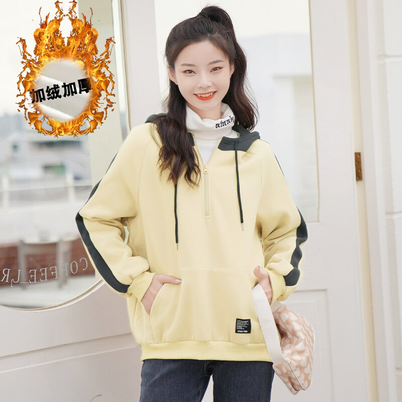 Chic Khaki Autumn and Winter 2020 New All-Matching Thickened Hooded Sweatshirt Women's Assorted Colo