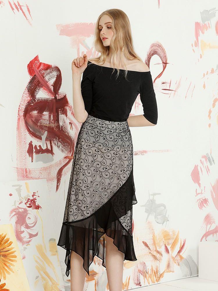 Women's Black Lace Patchwork Lotus Leaf Skirt , Designer Style Skirt for Ladies