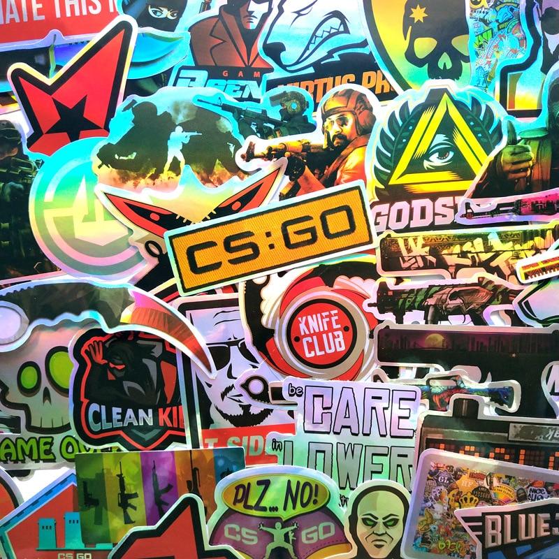 50 unids/pack CS GO juego genial Pegatinas láser para niños portátil divertido Pegatinas de grafiti mezcla Retro impermeable lápiz niños calcomanías de Juguetes