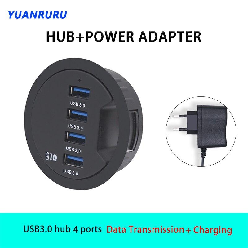 USB Hub USB 3.0 USB 2.0 Hub Desktop Grommet Type C Port Hub Audio With SD/TF 3/4 Port Mount In Desk With Power Adapter 5V 2A x h060 4 port usb 2 0 hub