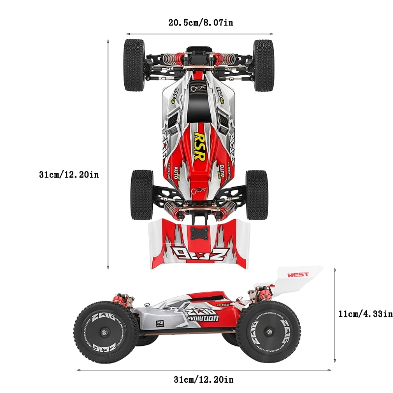 RC Car Scale Drift Racing Cars 4WD for WLtoys 1/14 144001 RTR 2.4GHz Metal Chassis Hydraulic Shock Absober Off-Road Vehicle Toy enlarge