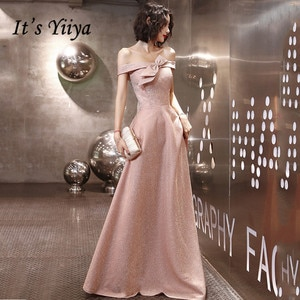 Evening Gown It's Yiiya AR200 Shining Pink Off Shoulder Formal Evening Dresses Elegant Boat Neck Bow Evening Dress For Women