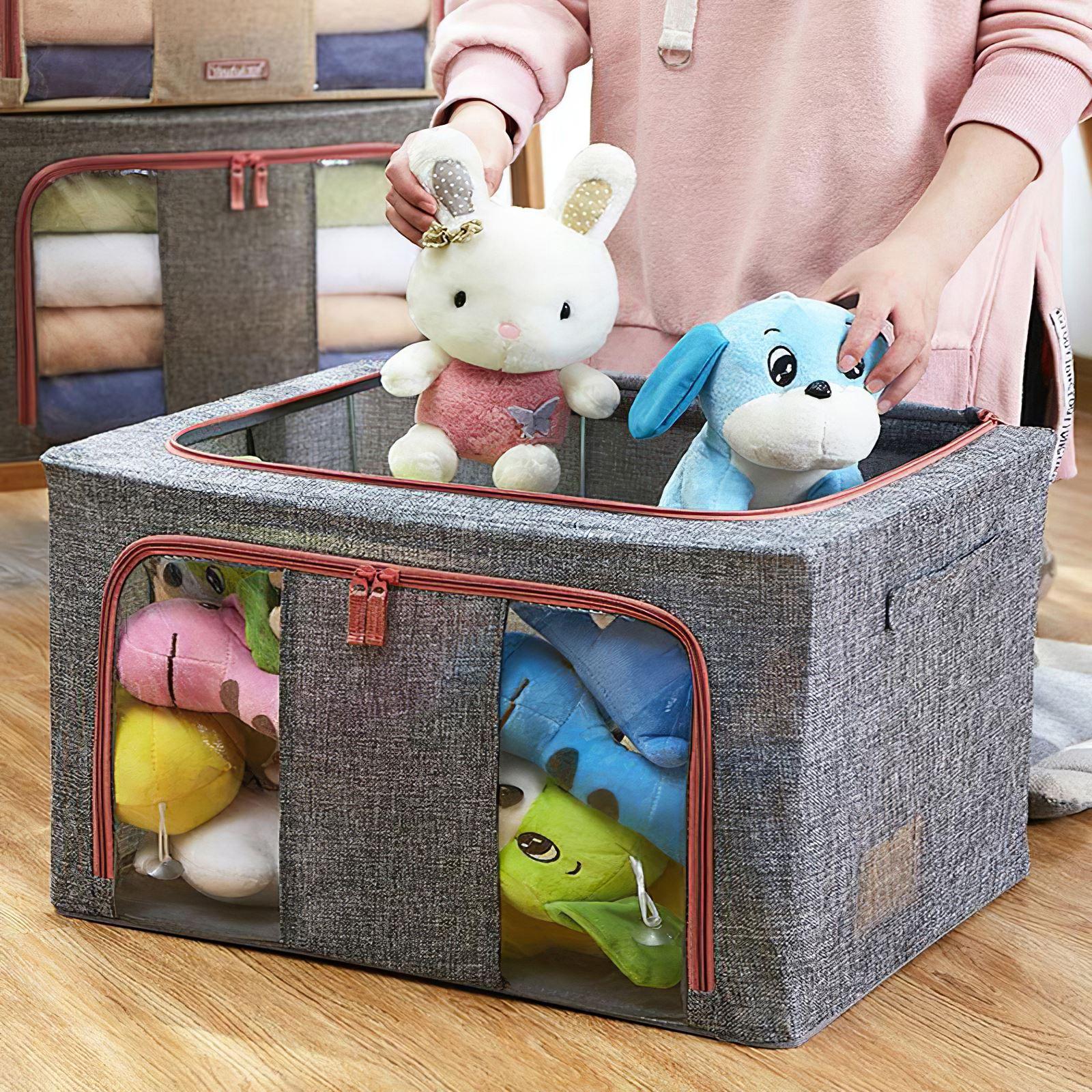 66L لحاف صندوق تخزين ملابس حقيبة طوي سعة كبيرة طفل اللعب المنظم المنزلية خزانة تخزين مقسم حقيبة مع سحاب