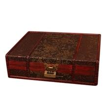 Wooden Storage Jewelry Box Big Vintage Wood Box with Metal Lock Wedding Gift Packaging Manual Desktop Decoration