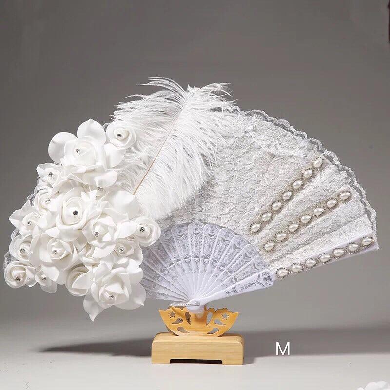 Abanicos de plumas de encaje Para Boda hechos a mano, Para mujer,...