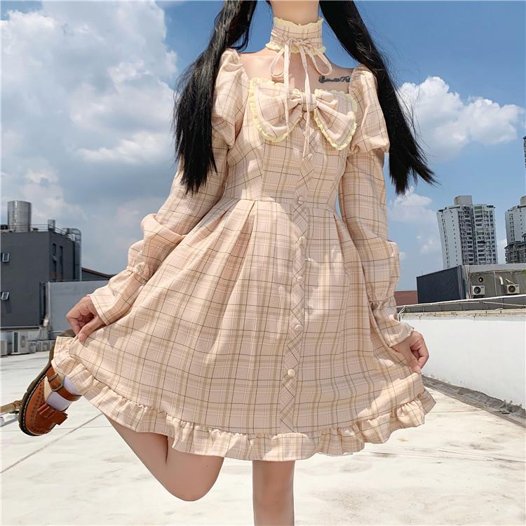 New Summer Japanese Pink Plaid Dress Soft Girly Sweet Lace Up Bow Loose Women Ruffles Puff Sleeve Cute 2021
