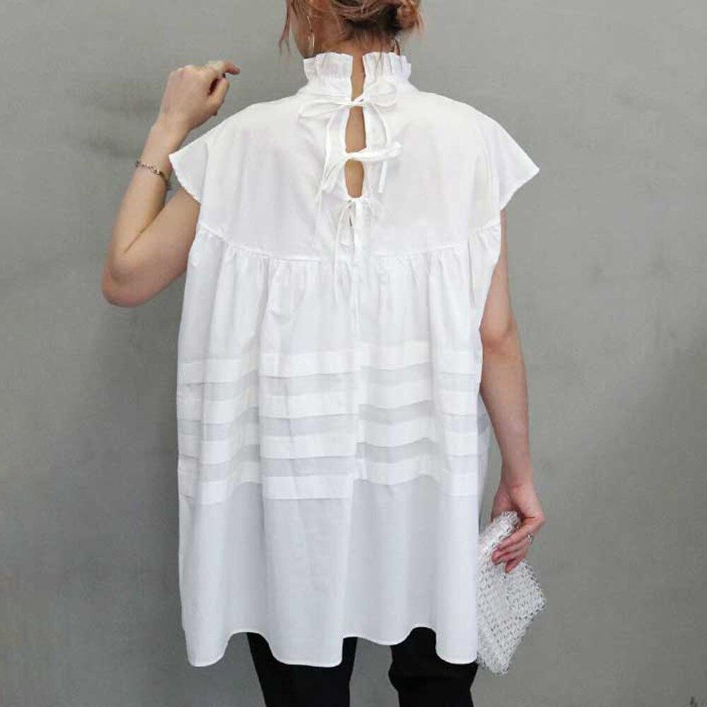 Women White Shirt Sleeveless Young Vintage Black White Blouse Elegant Stand Collar Soild Color Tops