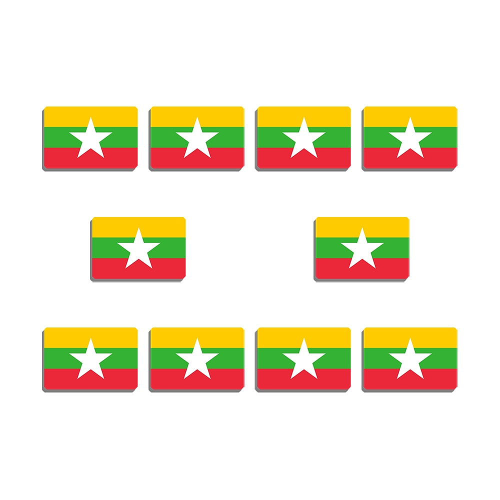 10Pcs Myanmar National Flag Brooch Resin Badge Patriotism Flag Lapel Pin For Backpacks Hat Coat