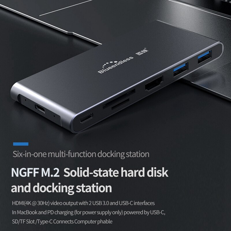 Blueendless M.2 SSD Корпус SATA NGFF для usb type C адаптер с 4K HDMI, 2 USB3.0, SD/TF кард-ридер, 60 Вт PD 3,0 портовый концентратор