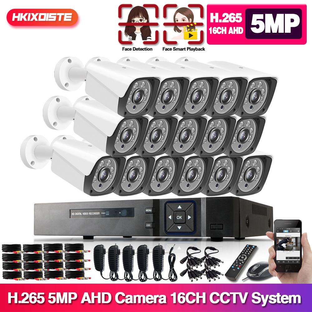 16 Uds Kit de cámaras CCTV 5MP H.265 Kit de vigilancia en exterior 1080P IR cámara de seguridad sistema de videovigilancia Set 16ch DVR Kits