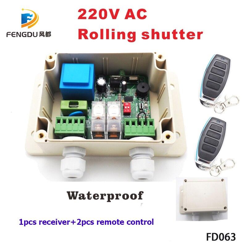 220В рольставни беспроводной мотор приемник для Двери Гаража Пульт дистанционного управления Универсальный 2-канальный приемник 1 * приемник + 2 * пульт дистанционного управления