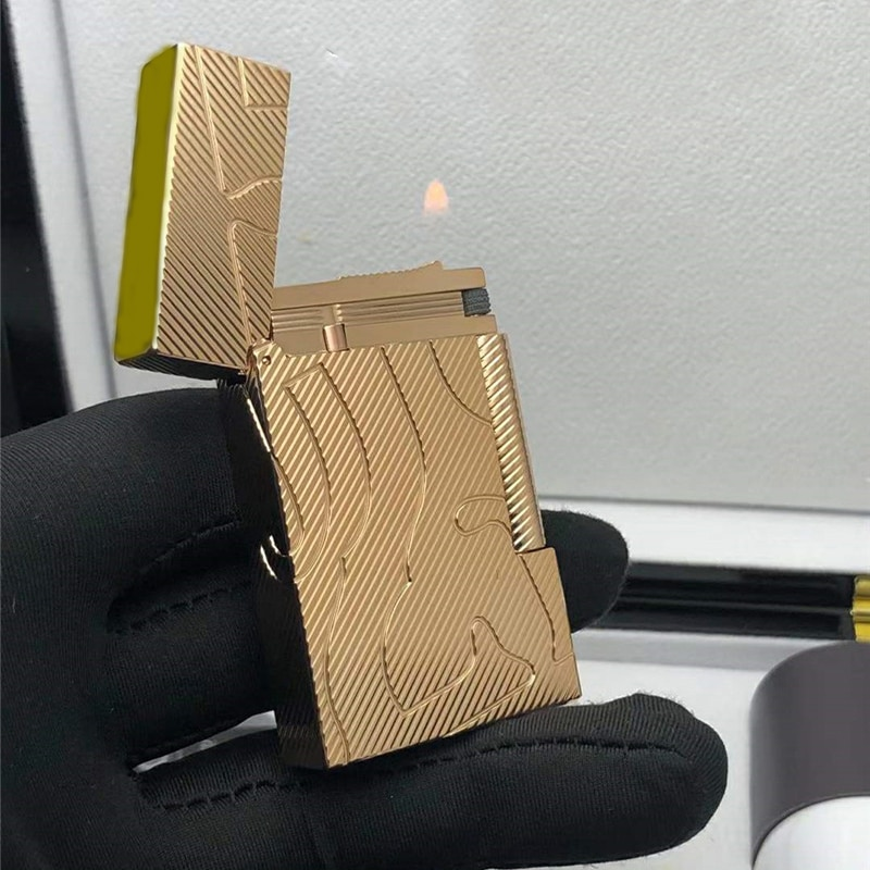 100% brand new retro DuPont bright sound lighter Seiko manufacture windproof copper body cigarette lighter with box