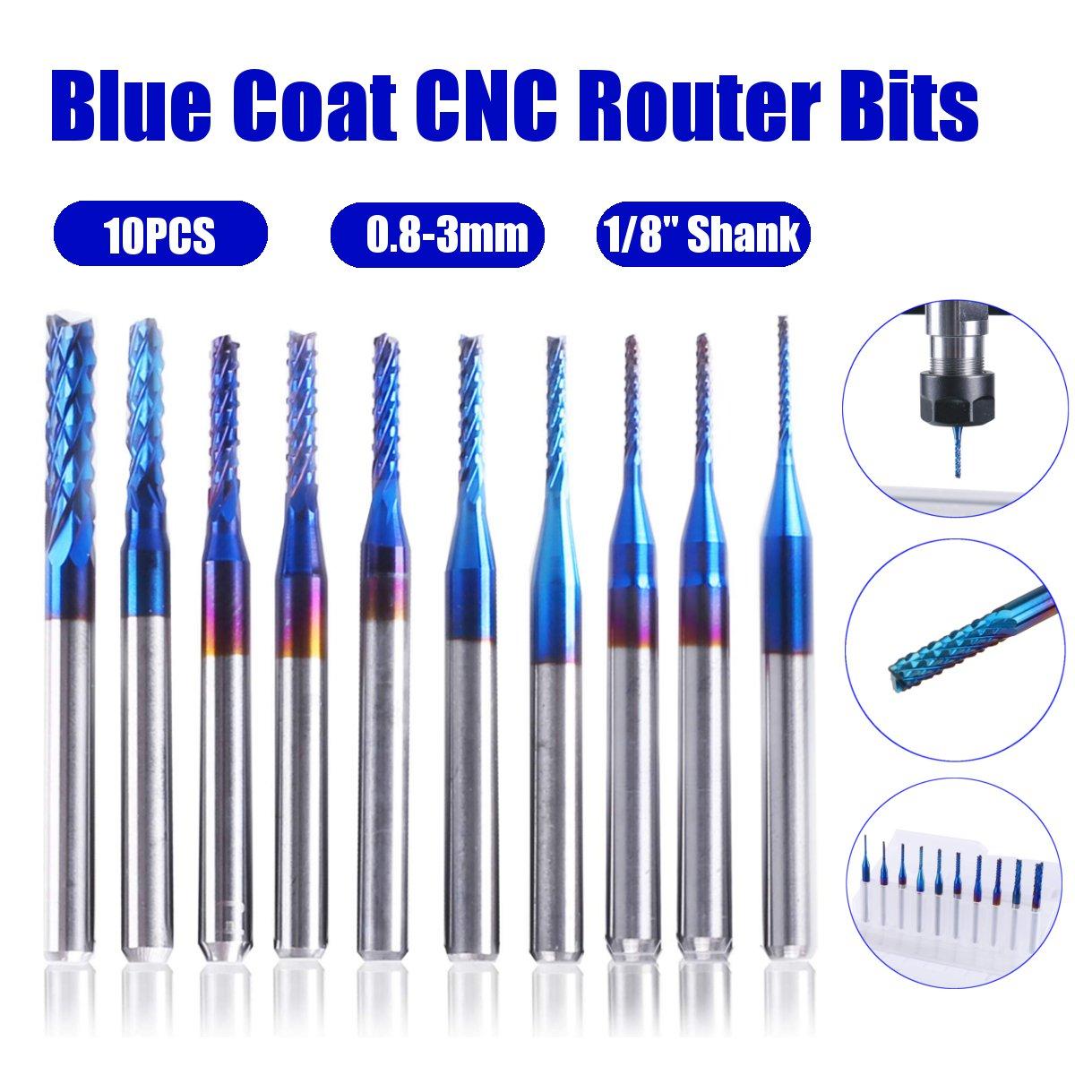 10 unidades, fresa de grabado NaCoating azul de 0,8-3mm, fresa de extremo de carburo, fresas de enrutador CNC de 1/8 pulgadas, herramienta de enrutador de vástago