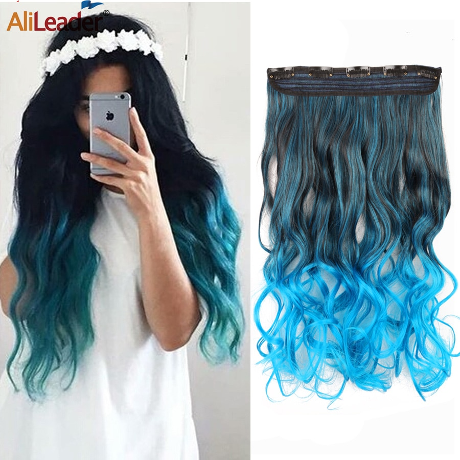 Alileader Limited 5Clips In Hair Extension Natural Clip In Hair Extension Synthetic Hairpiece Wave Ombre Hairpiece 5Clips On clip in soft wave hair extension 1pc