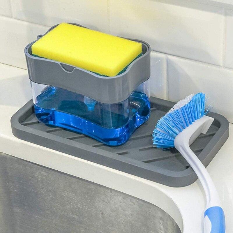 Dispensador automático de jabón con rejilla de almacenamiento de esponja de limpieza para cocina, botella rectangular rellenable 1