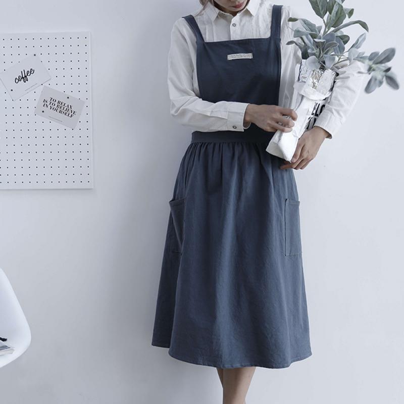 1 Piece Women Bib Apron Cotton Linen Pinafore Female Dress Cafe Kitchen Cooking Florist Retro Autumn Dathroom